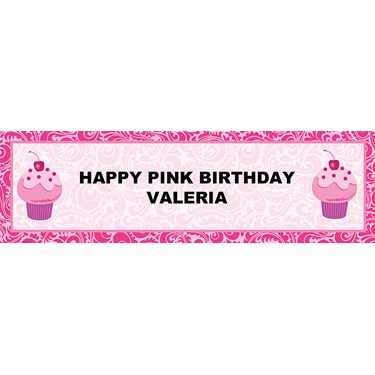 Pink Swirly Personalized Birthday Banner
