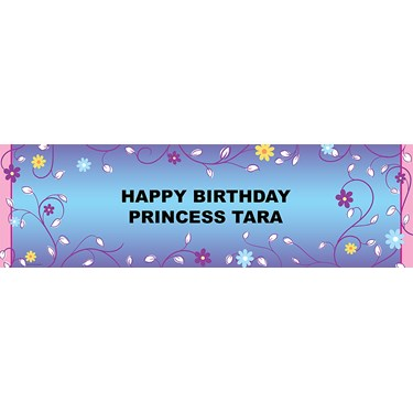 Vines and Flowers Personalized Vinyl Banner