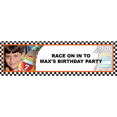 Racecar Personalized Photo Vinyl Banner