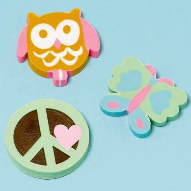 Hippie Chick Erasers Assorted