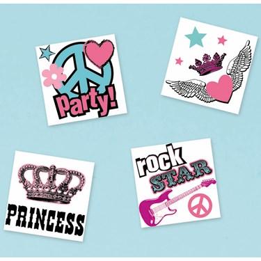 Rocker Princess Temporary Tattoos Assorted