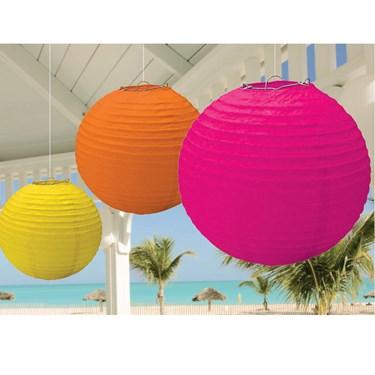 Hot Pink, Orange and Yellow Hanging Lanterns