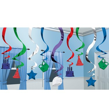 Birthday Hanging Swirl Decorations Assorted