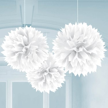 """White 16"""" Fluffy Decorations (3)"""