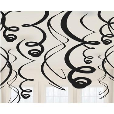 Black Plastic Swirl Decorations (12)