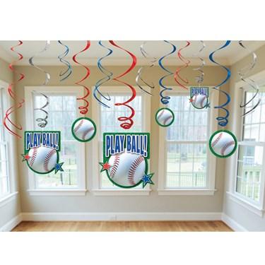 Baseball - Swirl Decorations