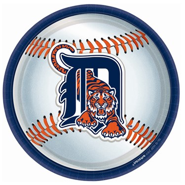Detroit Tigers Baseball Round Dinner Plates