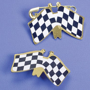 Double Racing Flag Pins
