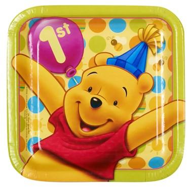 Disney Pooh's 1st Birthday Square Dessert Plates