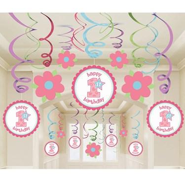 1st birthday girl mega value pack swirl decorations for 1st birthday party decoration packs