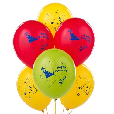 Disney Winnie the Pooh Happy Birthday Latex Balloons