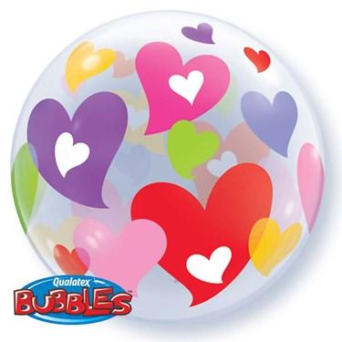 Colorful Hearts Bubble Shaped Balloon