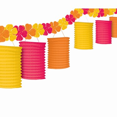 Floral Paradise Pink, Orange, & Yellow Garland Lanterns