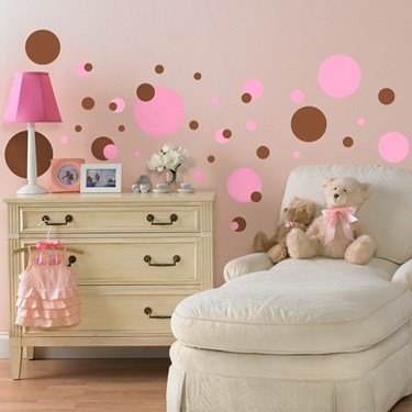 Pink and Brown Dots Peel and Stick Wall Decals