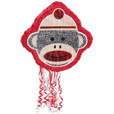 Sock Monkey Red Pull-String Pinata