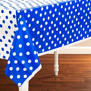 Blue Polka Dot Plastic Tablecover