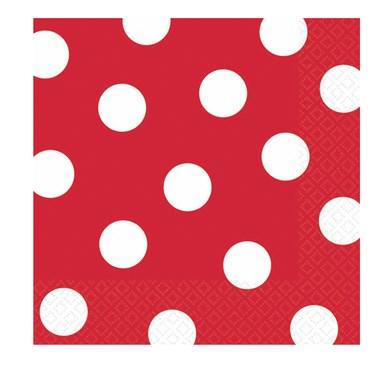 Red Polka Dot Beverage Napkins