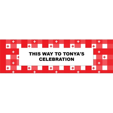 Red Gingham Personalized Banner