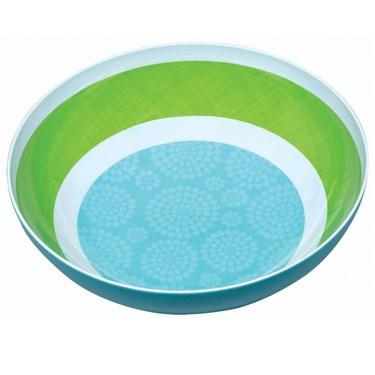 Blue & Green Large Round Printed Bowl