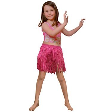 Child Pink Mini Hula Skirt