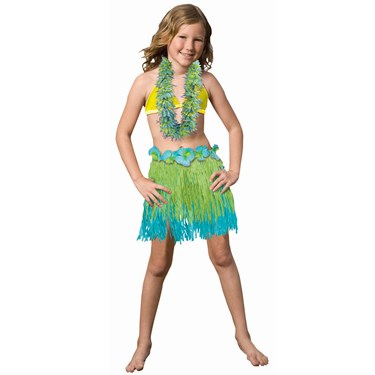 Child Two Tone Blue / Green Grass Skirt