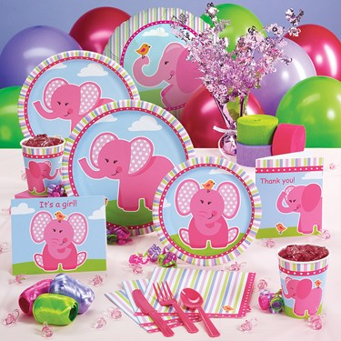 Pink Elephants Baby Shower Party Supplies