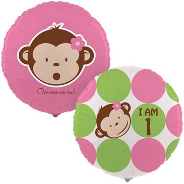 Pink Mod Monkey 1st Birthday Foil Balloon
