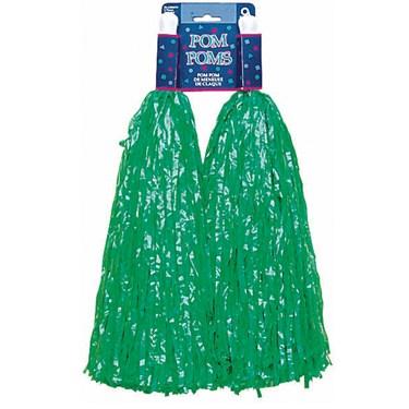 Plastic Pom Poms - Green