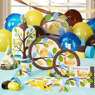 Sweet Tweet Bird Blue 1st Birthday Party Supplies