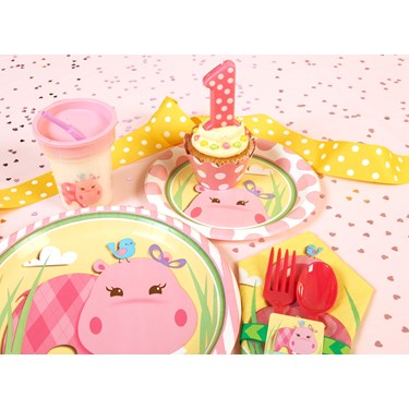 Hippo Pink 1st Birthday Party Packs