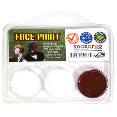 White and Maroon Fan Face Paint
