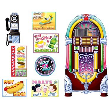1950's Soda Shop Signs & Jukebox Props