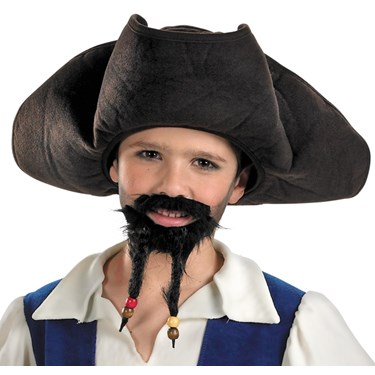 Pirates of the Caribbean 4 On Stranger Tides - Pirate's Hat With Moustache And Goatee (Child)
