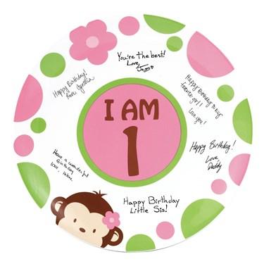Pink Mod Monkey 1st Birthday Signature Plate