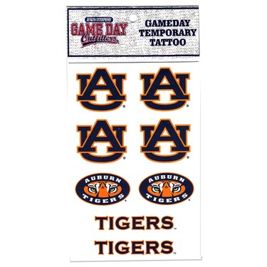 Auburn Tigers Temporary Tattoo Sheet