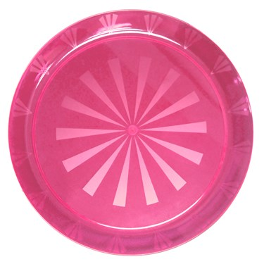 "Neon Pink Round Plastic Tray (16"")"