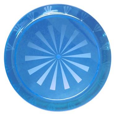 "Neon Blue Round Plastic Tray (16"")"