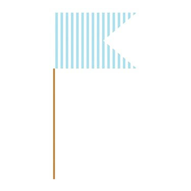 Pastel Blue Striped Mini Flag Food Picks