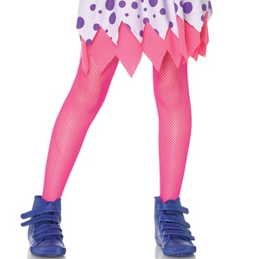 Neon Pink Kids Fishnet Tights