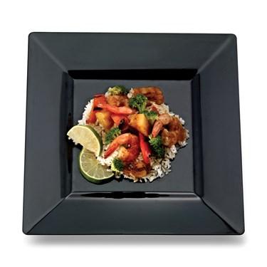 Black Square Premium Plastic Banquet Dinner Plates