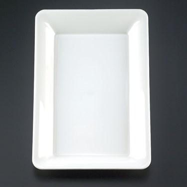 "White 10"" x 14"" Rectangular Plastic Tray"