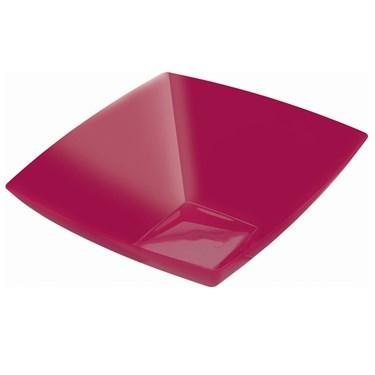 Raspberry 128 oz. Premium Plastic Square Bowl