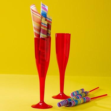 Red 5.5 oz. Premium Plastic Champagne Flutes