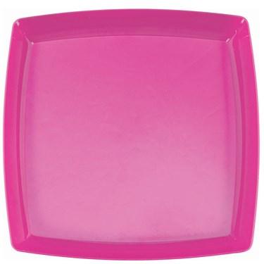 Bright Pink Premium Plastic Square Platter
