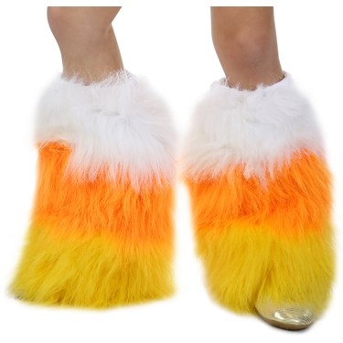 Deluxe Candy Corn Furry Leg Warmers
