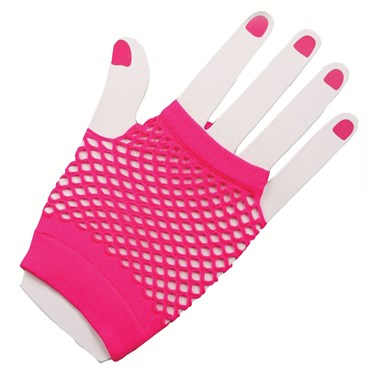 80's - Neon Fishnet Gloves - Short - Pink