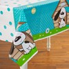 Playful Puppy Blue Plastic Tablecover