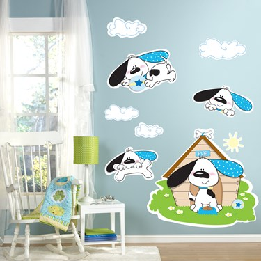 Playful Puppy Blue Giant Wall Decals