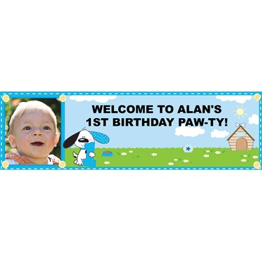 Playful Puppy Blue 1st Birthday Personalized Photo Banner
