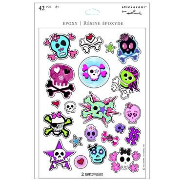 Girl Skull and Crossbones Sparkle Sticker Sheets